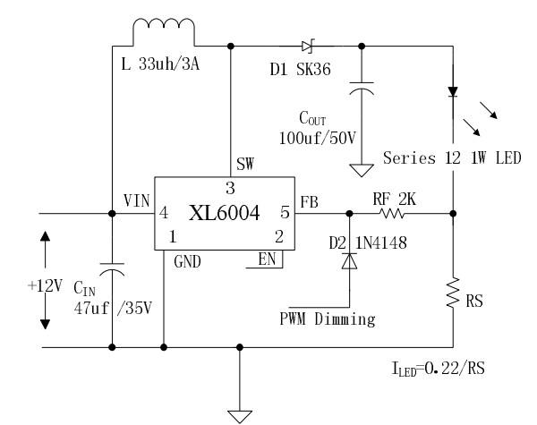 (1)XL6004具有较宽的直流3.6V到32V输入电压范围(低压可以兼顾锂电供电) (2)XL6004最高升压可到60V,可驱动串联12颗1W LED(同比其它品牌多驱动4~5颗LED) (3)XL6004最大开关电流3A,可驱动0~20W功率的LED (4)XL6004的EN脚可实现缓启动,且自带软启动功能 (5)XL6004低至0.2V参考电压,可以有效提高系统效率 (6)XL6004输出60V过压保护功能 (7)XL6004内置过热保护功能 XL6004优势:宽电压输入,大电流输出,外围电路简单。