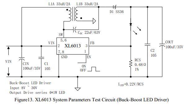 内置2A开关MOS升压LED驱动芯片XL6013描述 XL6013是一款升压恒流型LED驱动器,可工作在DC5V到40V输入电压范围,低纹波,内置功率MOS。XL6013内置固定频率振荡器与频率补偿电路,简化了电路设计。 当输入电压大于或等于12V 时 ,XL6013可驱动5至10串1W LED。 PWM控制环路可以调节占空比从0~90%之间线性变化。内置过电流保护功能与EN脚逻辑电平关断功能。内部补偿模块可以减少外围元器件数量。 内置2A开关MOS升压LED驱动芯片XL6013特点  5V到40V宽输入