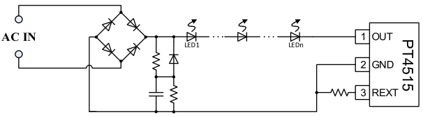 电阻精确设定LED输出电流。  过热调节功能 PT4515具有过热调节功能 ,在芯片过热时(>140)会逐渐减小输出电流,从而控制输出功率和温升,使芯片温度保持在恒定值,以提高系统的可靠性。 过热降电流时输出电流最多减少到设定输出电流的四分之一。系统会不断检测芯片温度,当芯片温度降到 140以下时,系统电流恢复正常。当芯片温度超过 165时芯片关断输出。系统会不断检测芯片温度,当芯片温度降到 145以下时,系统才能重新恢复正常工作。 高压降电流功能 PT4515 具有高压降电流功能,在芯片OU