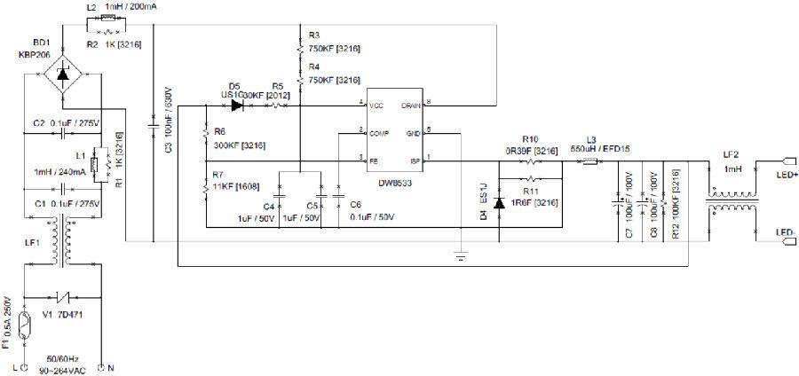 DW8533是壹種恒流LED調節器,適用於具有功率因數校正的非隔離降壓LED系統。內置600V功率MOS集成,可以大大簡化LED照明系統的設計。DW8533可實現良好的線性和負載調節,效率高,BOM成本低。 啟動 當上拉電阻器充電VCC到21V時,柵極驅動信號開始切換,並且當輸出足夠時,輸出開始向VCC引腳提供功率。壹個內部電壓鉗連接到VIN引腳,以防止VCC過高。內部10mA電流拉動VCC向下和停止開關,當它在43V以上,當VCC被拉到35V時重啟開關。當VCC低於7.